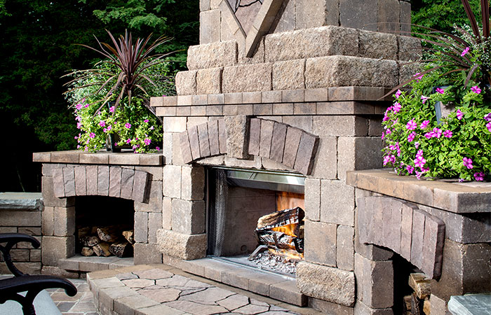 giant fieldstone fireplace | Fireplaces - French Mill Stone